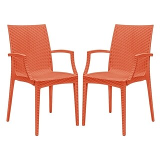 LeisureMod Weave Mace Indoor Outdoor Red Arm Chair (Set of 2)