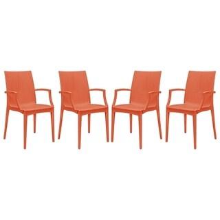 LeisureMod Weave Mace Indoor Outdoor Red Arm Chair (Set of 4)