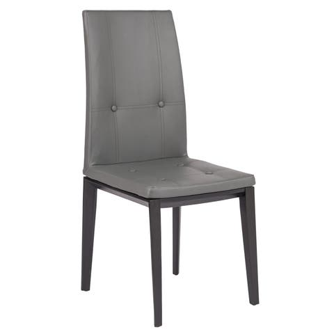 LeisureMod Somers Tufted Leather Grey Dining Chair w/ Wooden Base