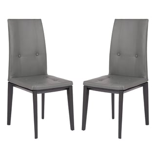 leisuremod somers faux leather grey dining chair set of 2