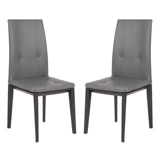 LeisureMod Somers Tufted Leather Grey Dining Chair w/ Wooden Base Set of 2