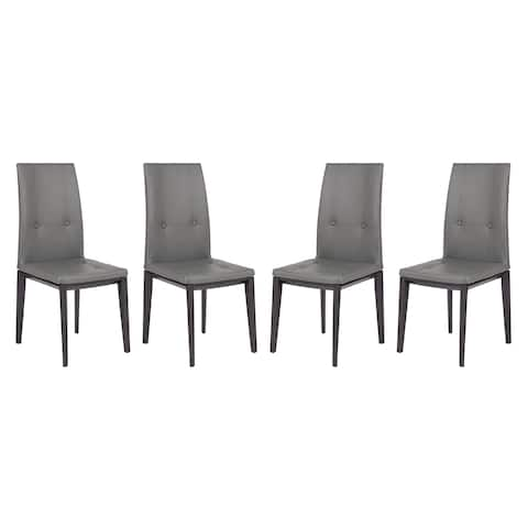LeisureMod Somers Tufted Leather Dining Chair w/ Wooden Base Set of 4