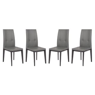 LeisureMod Somers Tufted Leather Dining Chair w/ Wooden Base Set of 4 (Grey - Modern & Contemporary)