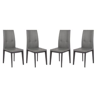 LeisureMod Somers Contemporary Faux Leather Grey Dining Chair (Set of 4)