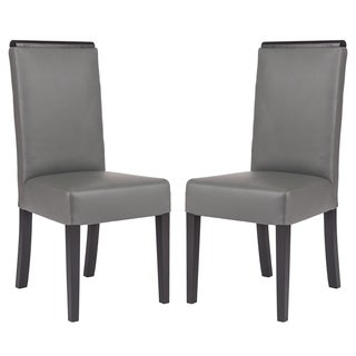 LeisureMod Elroy Contemporary Faux Leather Grey Dining Chair (Set of 2)