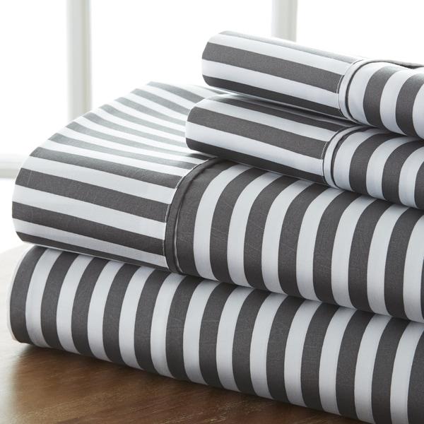 Merit Linens 4-piece Premium Ultra Soft Ribbon Pattern Bed Sheet Set