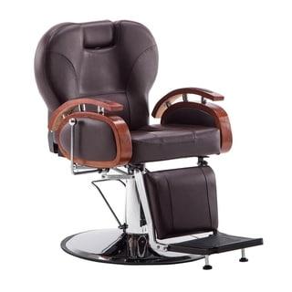 BarberPub Hydraulic Recline Brown Hair Salon Chair
