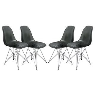 LeisureMod Cresco Molded Eiffel Transparent Black Side Chair (Set of 4)