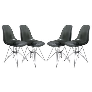 LeisureMod Cresco Molded Eiffel Transparent Black Dining Chair (Set of 4)