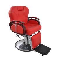 BarberPub Hydraulic Recline Red Hair Salon Chair