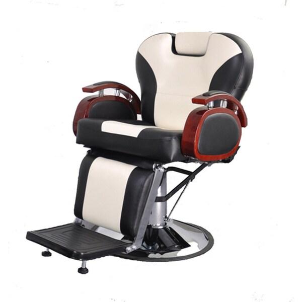 BarberPub Hydraulic Recline Black and White Hair Salon Chair