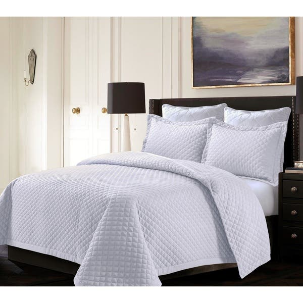 Brisbane Solid Oversized Quilt Set Grey King 3 Piece