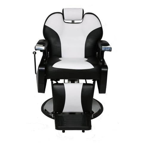 BarberPub Hydraulic Recline Black and White Hair Salon Chair Cream