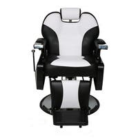 BarberPub Hydraulic Recline Black and White Hair Salon Chair - Cream