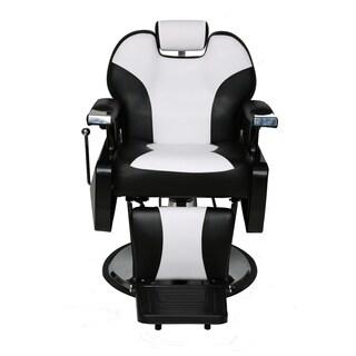 BarberPub Hydraulic Recline Black and White Hair Salon Chair Cream