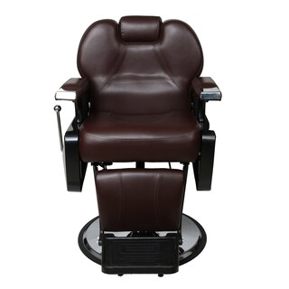BarberPub Brown Faux Leather Hydraulic Recline Hair Salon Chair