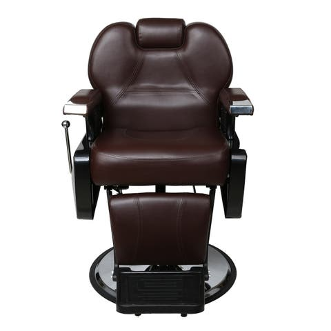 BarberPub Brown Faux Leather Hydraulic Recline Hair Salon Chair
