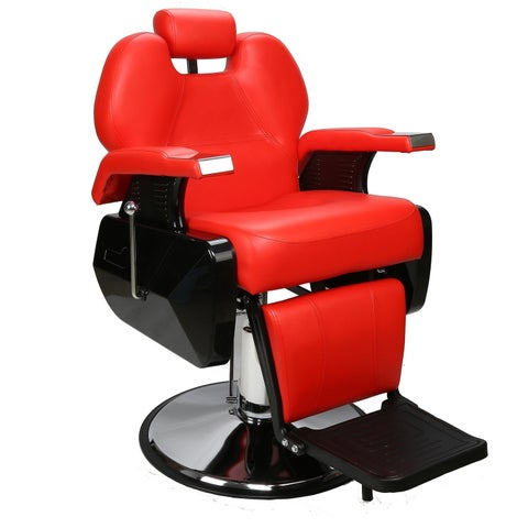 BarberPub Hydraulic Recline Red Barber and Salon Chair