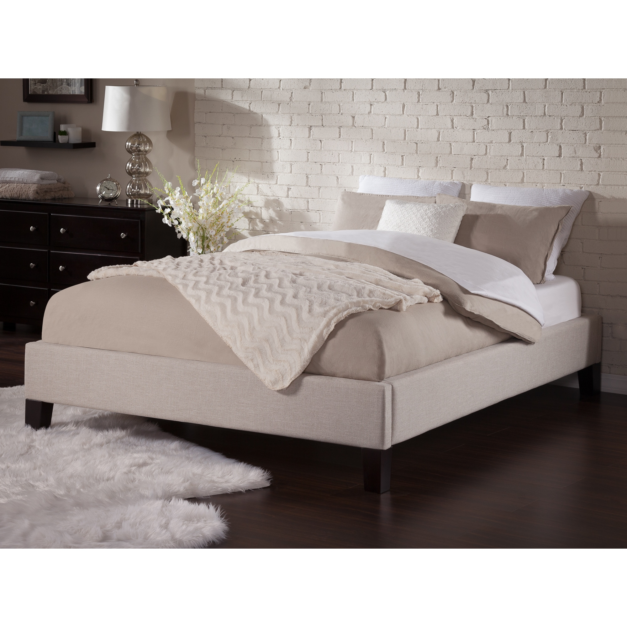 Atlantic Furniture Upholstered Platform Bed Frame Queen i...