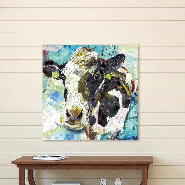Portfolio Canvas Decor Art Cow Blue Wrapped Canvas Wall Art - Black