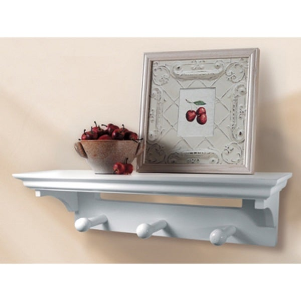 InPlace 17-inch White Shelf with Pegs