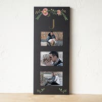 Personalized Black Three Window Floral Wedding Picture Frame