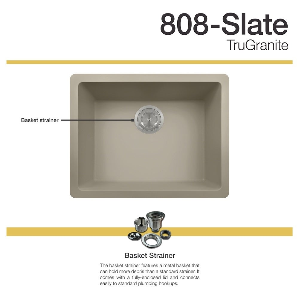 MR Direct 808 Slate Sink (strainer), Grey