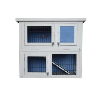 "Lovupet 32"" Wooden Rabbit Hutch Small Animal House Pet Cage Coop Blue"