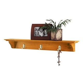 InPlace 30-inch English Oak Hook Shelf