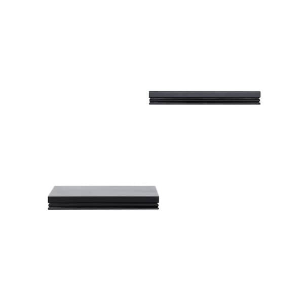 InPlace Warwick 10-inch Black Floating Wall Shelves (Set of 2)
