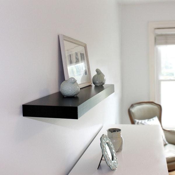 InPlace 36-inch Black Floating Wall Shelf