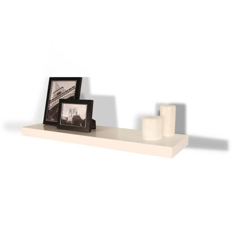 InPlace 35.4-inch White Floating Wall Shelf