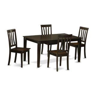 CAAN5-CAP-W 5 Piece dining table set for -4 Dining table and 4 wood seat dining chairs