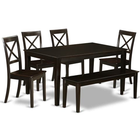6-piece Cappuccino Dining Room Table Set (4 Chairs, 1 Dining Bench)