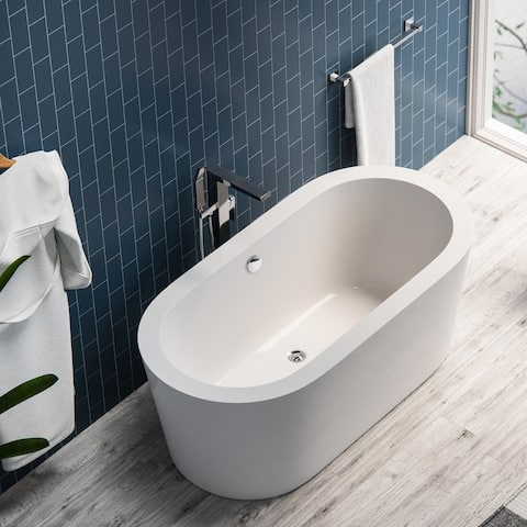Maykke Harrow 59-Inch Soaking, Acrylic, 2-Person, Deep, Wide Rim Tub