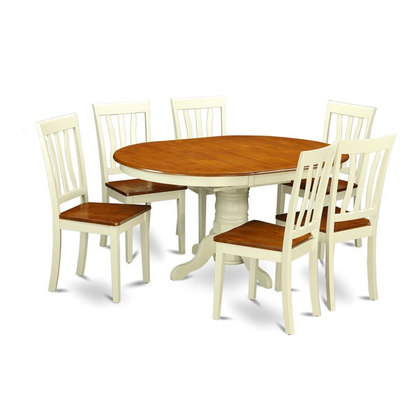 Bon KEAN7 WHI W 7 Pc Kenley Dinette Table With One 18in Leaf And 6