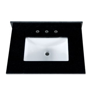 31-Inch Black Granite Countertop with 8-Inch Widespread Faucet Holes