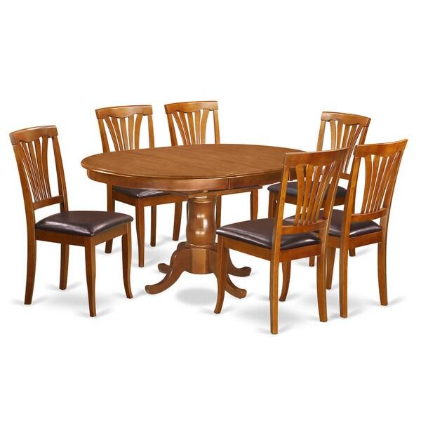 Portland Saddle Brown Extendable 7 Piece Dining Set