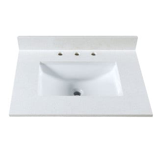 31 Inch Off-White Quartz Countertop w 8 Inch Widespread Faucet Holes