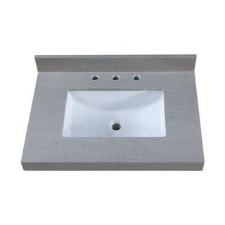 31 Inch Thick Grey Granite Countertop w/ 8 inch Widespread Faucet Holes