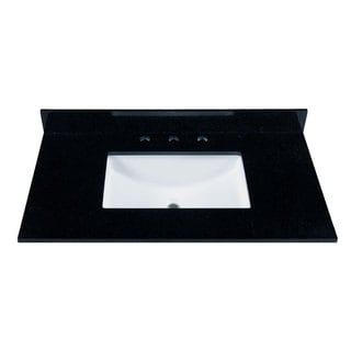 37-inch Black Granite Countertop with 8-inch Widespread Faucet Holes