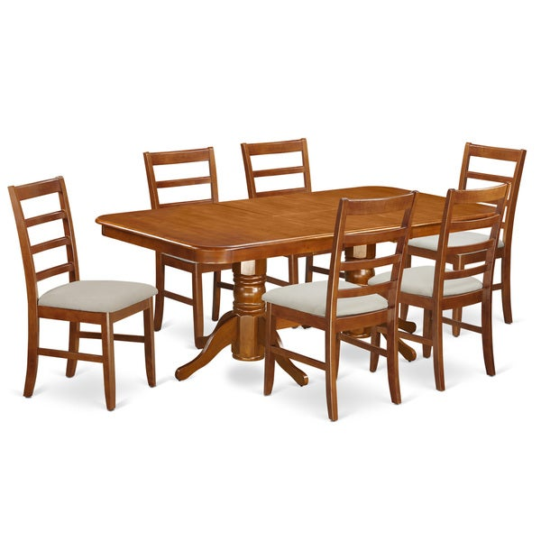 Saddle Brown Round Table And 4 Kitchen Chairs 5 Piece: Shop Saddle Brown Wood Napoleon 7-piece Dining Table Set