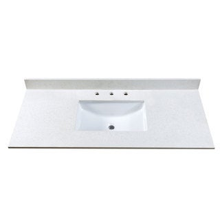 49 Inch Off-White Quartz Countertop with 8 Inch Widespread Faucet Holes