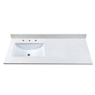 49-inch Off White Quartz Countertop with 8-inch Widespread Faucet Holes