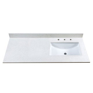 49-Inch Off-White Quartz Countertop with 8-Inch Widespread Faucet Holes