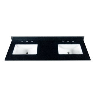 61 Inch Black Granite Countertop with 8 Inch Widespread Faucet Holes, Double