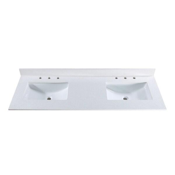 61 inch off white quartz countertop with 8 inch widespread for 2 inch quartz countertop