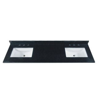 73-inch Black Granite Countertop with 8-inch Widespread Faucet Holes