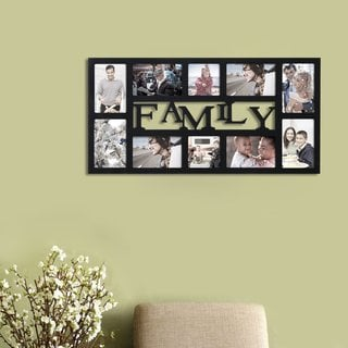 Adeco 'Family' Black Wood 10-opening Decorative Wall-hanging Collage Photo Frame