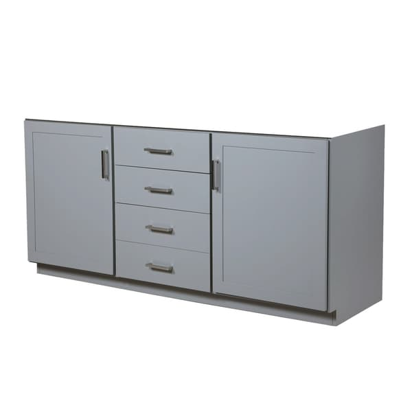 Maykke 72 Inch Sterling Vanity in Light Gray with Double Sinks